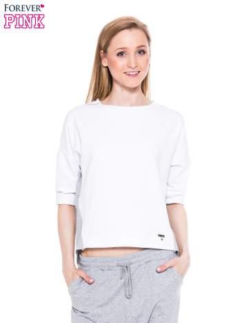 Biała bluza dresowa two tone z zamkiem z tyłu
