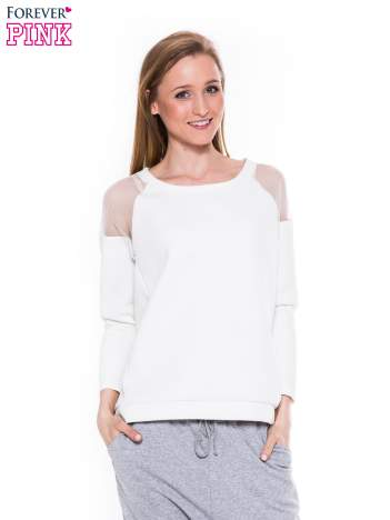 Biała piankowa bluza z transparentnymi wstawkami na ramionach