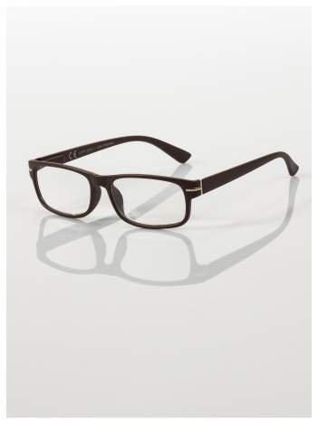 Eleganckie brązowe matowe korekcyjne okulary do czytania +3.0 D  z sytemem FLEX na zausznikach