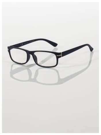 Eleganckie granatowe matowe korekcyjne okulary do czytania +4.0 D  z sytemem FLEX na zausznikach
