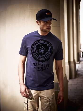 Granatowy t-shirt męski ze zwierzęcym nadrukiem