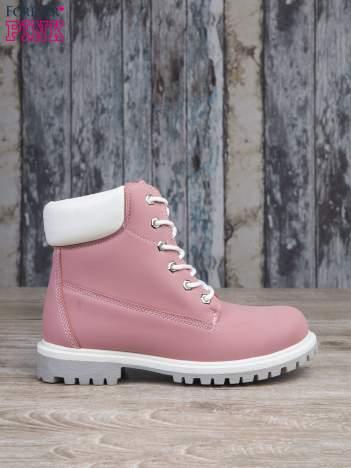 Różowe buty trekkingowe damskie traperki ocieplane