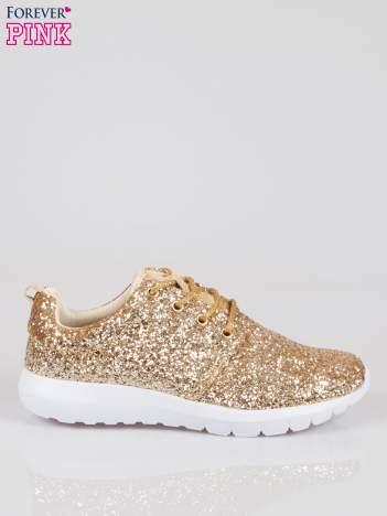 Złote adidasy damskie z brokatowym efektem