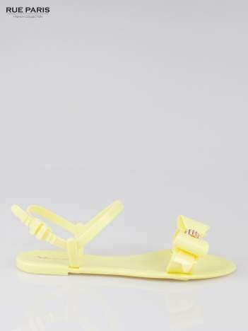 Żółte gumowe sandały meliski z kokardą