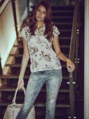 Beżowa koszula z kwiatowym motywem i ażurowym tyłem