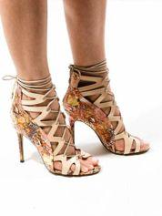 Beżowe sandały gladiatorki z motywem snake print