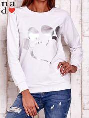 Biała bluza ze srebrnym nadrukiem