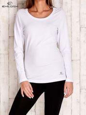 Biała gładka bluzka sportowa z dekoltem U PLUS SIZE