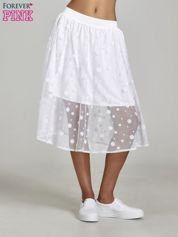 Biała spódnica z tiulową warstwą w groszki