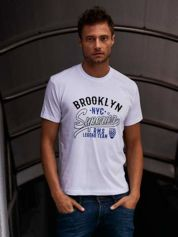 Biały t-shirt męski z napisem BROOKLYN NYC