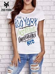 Biały t-shirt z nadrukiem tekstowym