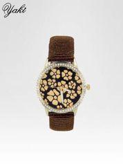 Brązowy zegarek damski na błyszczącym paski z cyrkoniami na kopercie