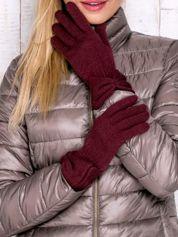 Burgundowe rękawiczki z kokardą w stylu retro