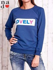 Ciemnoniebieska bluza z napisem LOVELY