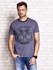 Ciemnoszary t-shirt męski z nadrukiem czaszki i napisami