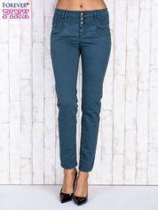 Ciemnozielone jeansowe spodnie skinny z wysokim stanem