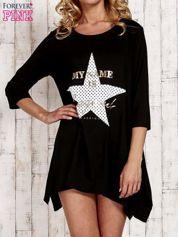Czarna tunika dresowa z printem gwiazdy