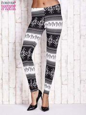 Czarne legginsy w norweskie wzory