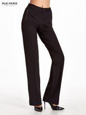 Czarne materiałowe spodnie dzwony w kant