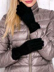 Czarne rękawiczki z kokardą w stylu retro
