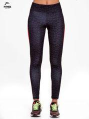 Czarne termoaktywne legginsy do biegania w panterkę z fluoróżowymi wstawkami po bokach ♦ Performance RUN