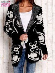 Czarny otwarty sweter z kapturem