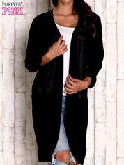 Czarny otwarty sweter z kieszeniami