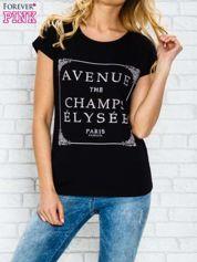 Butik Czarny t-shirt z napisem AVENUE THE CHAMPS ÉLYSÉE