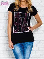Czarny t-shirt z napisem STYLE z dżetami