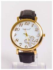 Damski zegarek z błyszczącym motylkiem na dużej i wyraźnej tarczy
