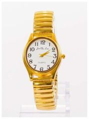 Damski zegarek z owalną tarczą na elastycznej bransolecie