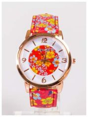 Damski zegarek z ozdobnym motywem kwiatowym na pasku oraz dużej tarczy