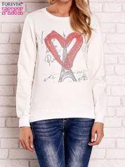 Ecru bluza z motywem paryskim