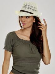 Ecru damski kapelusz kowbojski z ciemną plecionką