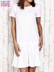 Ecru sukienka dresowa z kokardami z tyłu