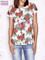 Ecru t-shirt z egzotycznym nadrukiem i ażurowym tyłem