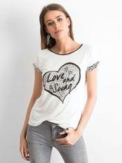 Ecru t-shirt z motywem pantery i napisem LOVE AND SWAG