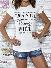 Ecru t-shirt z napisem TAKE A CHANCE