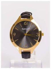 FASHION Duży damski zegarek na delikatnym skórzanym pasku