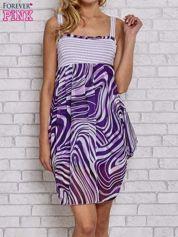 Fioletowa sukienka przed kolano na cienkich ramiączkach