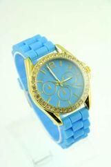 GENEVA Błękitny zegarek damski z cyrkoniami na silikonowym pasku