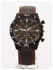 GT Czarno-pomarańczowy sportowy zegarek męski GRAND TOURING