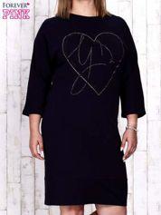 Granatowa sukienka dresowa z sercem z dżetów PLUS SIZE