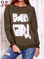 Khaki bluza z napisem BAD GIRL