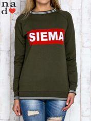 Khaki bluza z napisem SIEMA