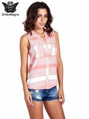 Koralowa koszula w paski bez rękawów