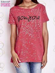 Koralowy t-shirt z napisem BONJOUR
