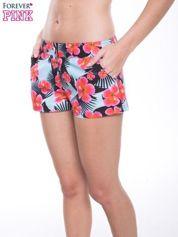 Kwiatowe szorty plażowe zapinane na guzik