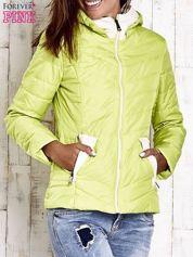 Butik Limonkowa pikowana kurtka z jasnym wykończeniem