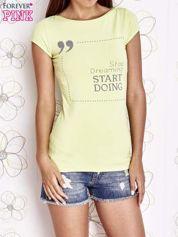 Limonkowy t-shirt z napisem STOP DREAMING START DOING